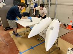 RoboBoat hull construction in mechanical engineering lab